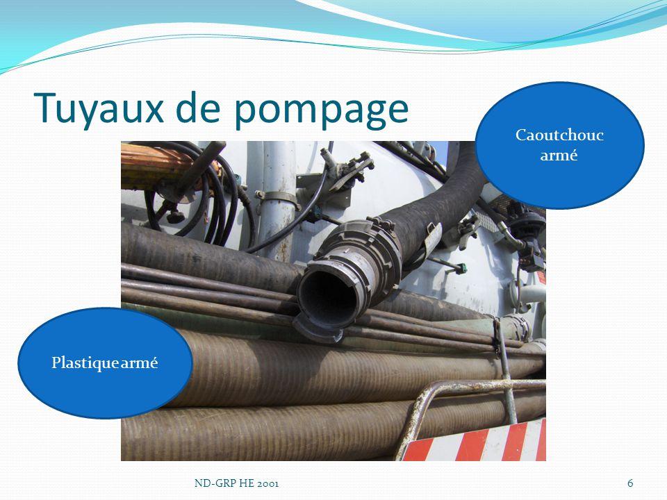 Tuyaux de pompage Caoutchouc armé Plastique armé ND-GRP HE 2001
