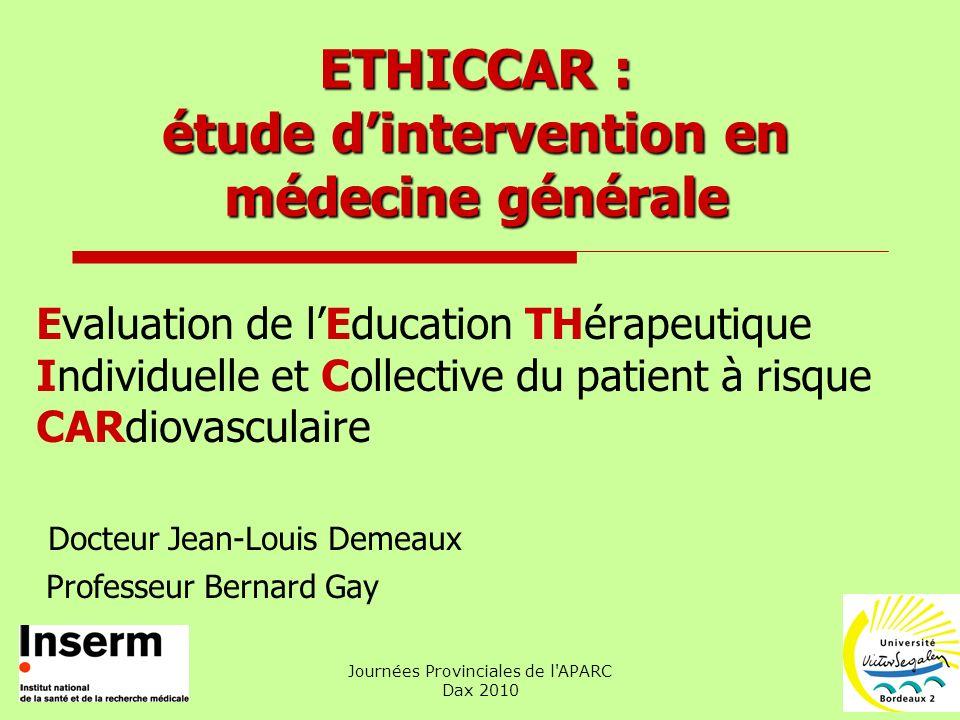 ETHICCAR : étude d'intervention en médecine générale