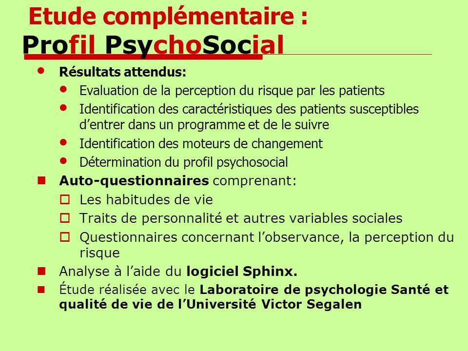 Etude complémentaire : Profil PsychoSocial