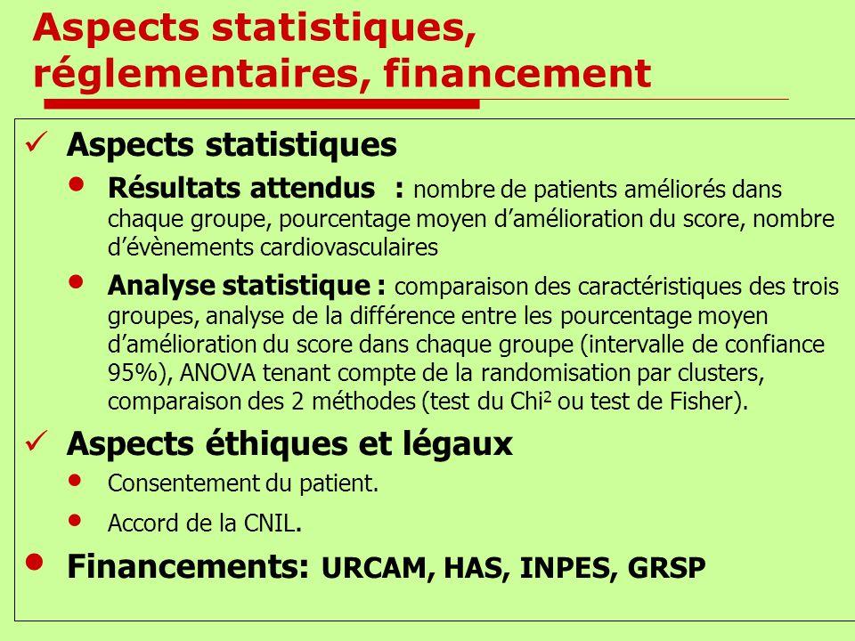 Aspects statistiques, réglementaires, financement