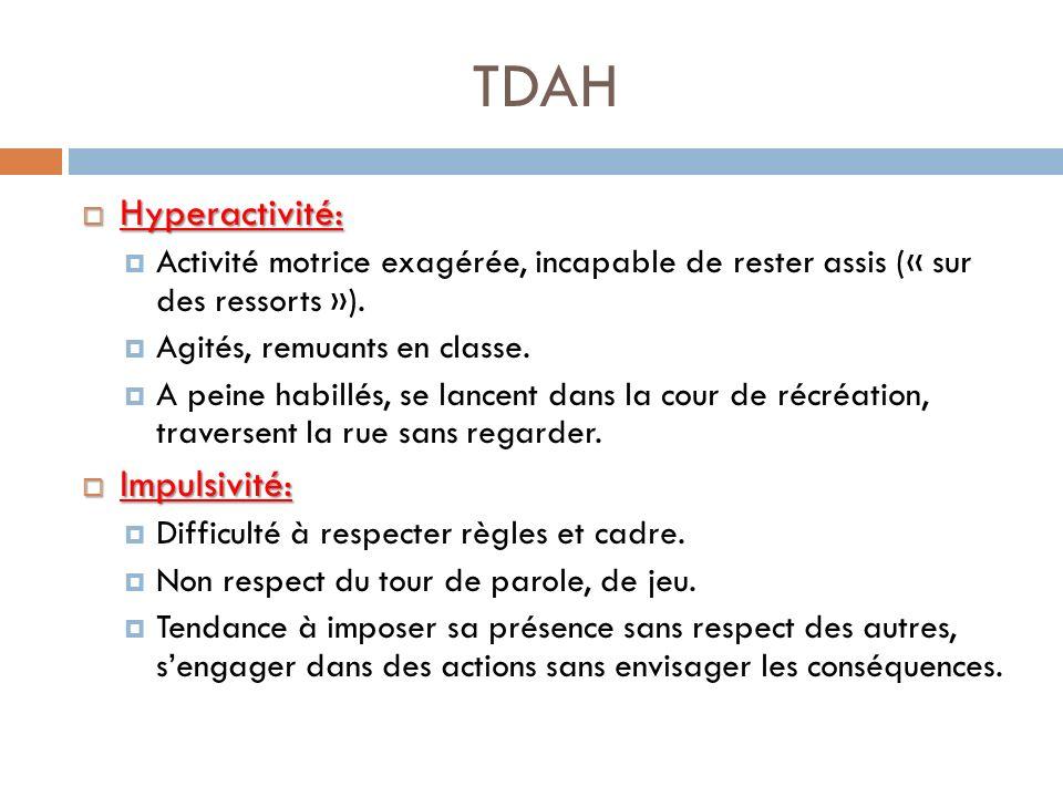 TDAH Hyperactivité: Impulsivité: