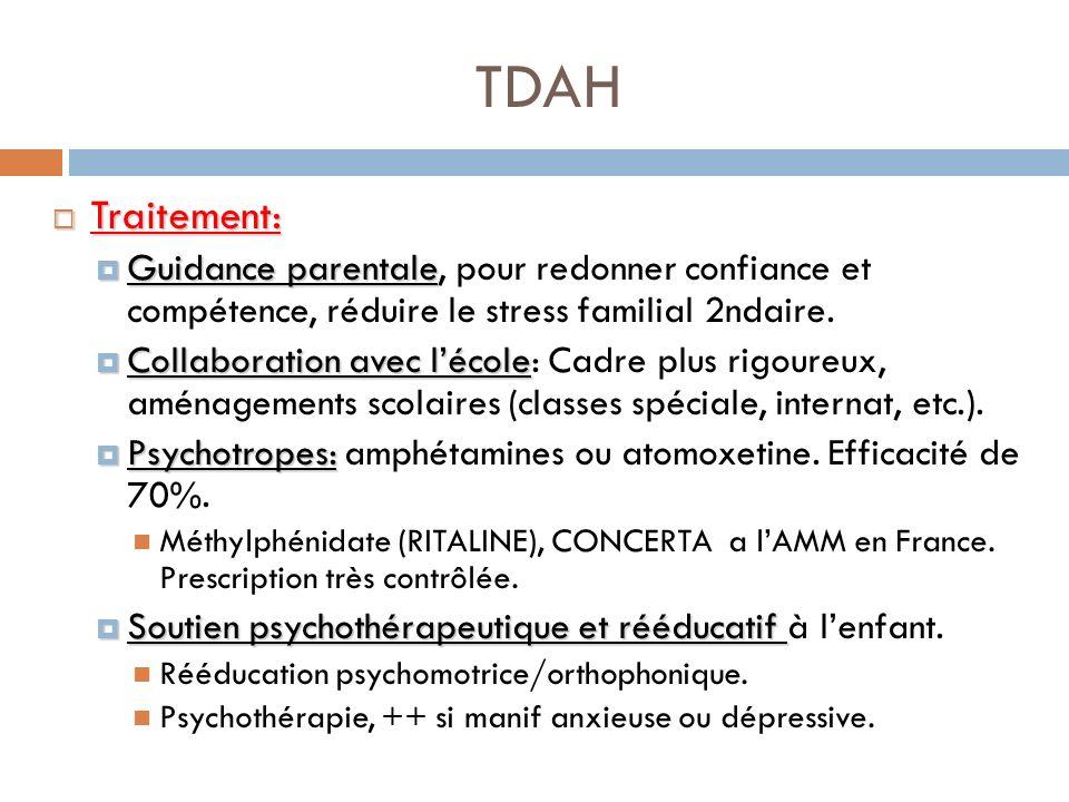 TDAHTraitement: Guidance parentale, pour redonner confiance et compétence, réduire le stress familial 2ndaire.