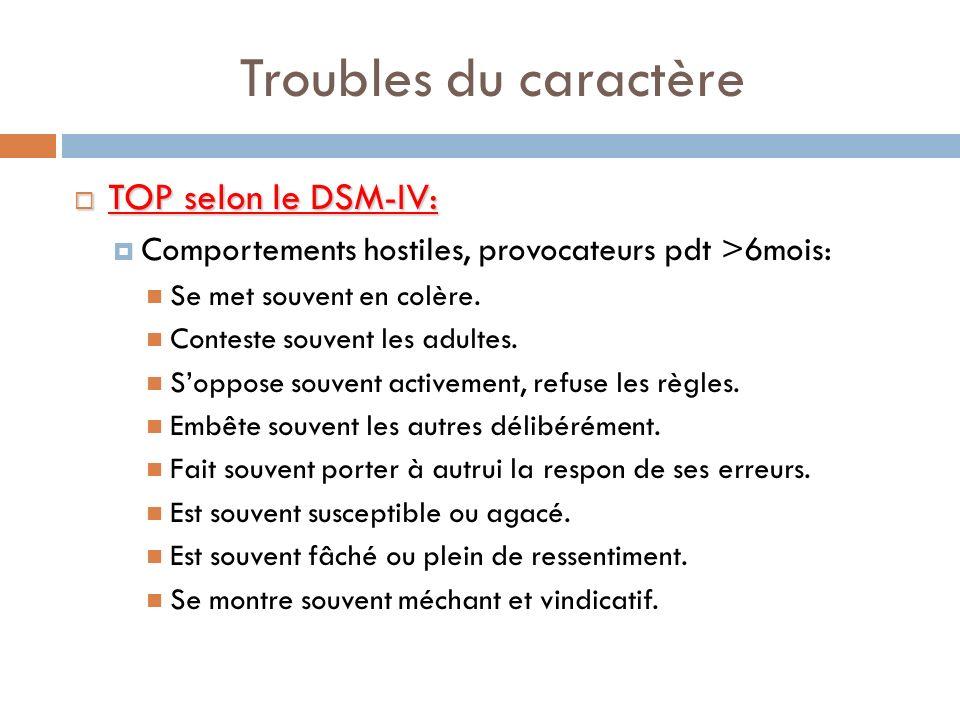 Troubles du caractère TOP selon le DSM-IV: