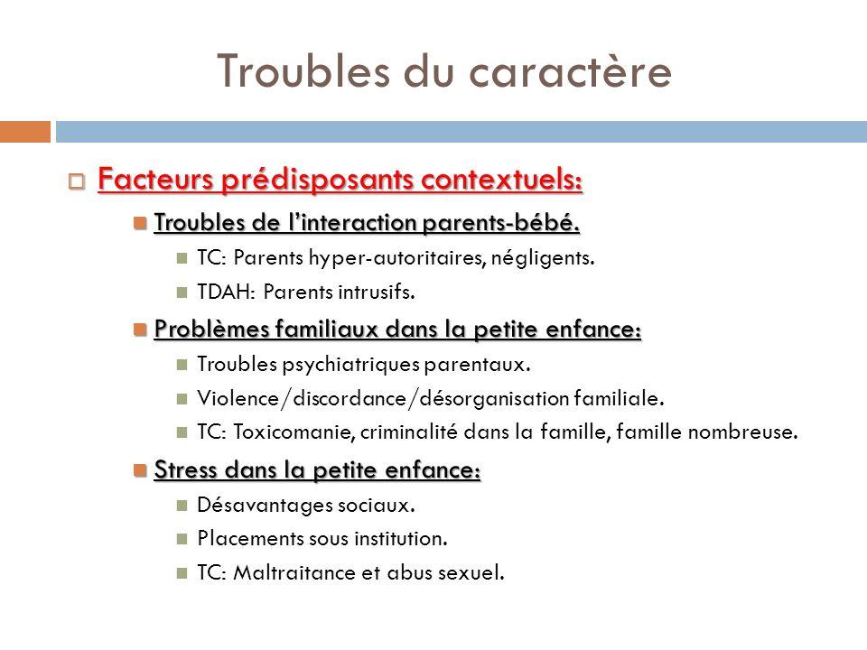 Troubles du caractère Facteurs prédisposants contextuels:
