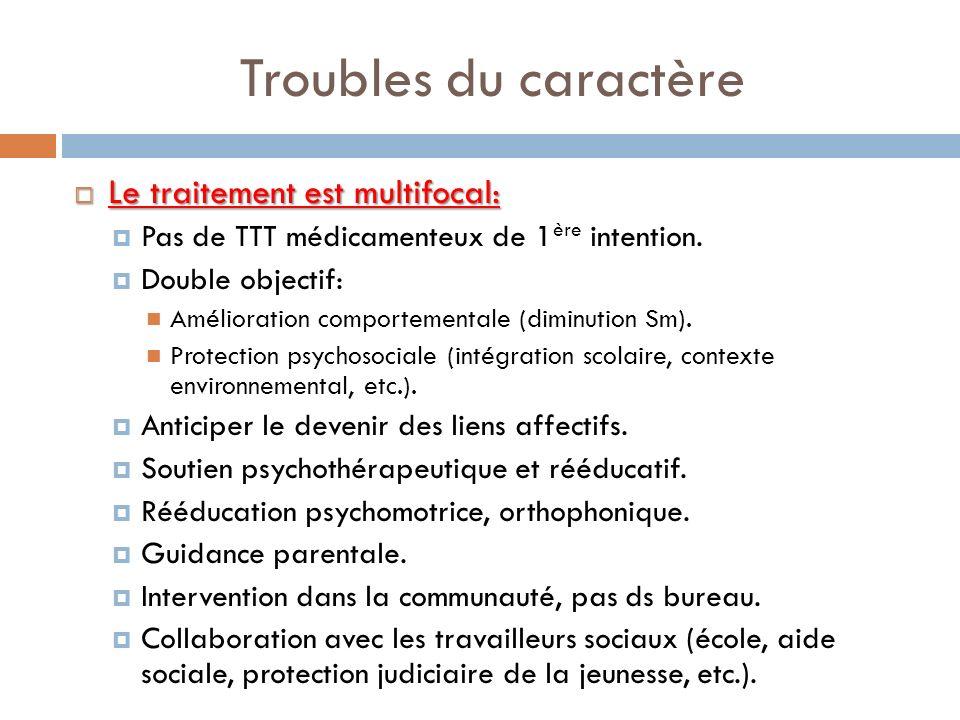 Troubles du caractère Le traitement est multifocal: