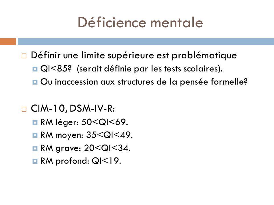 Déficience mentale Définir une limite supérieure est problématique