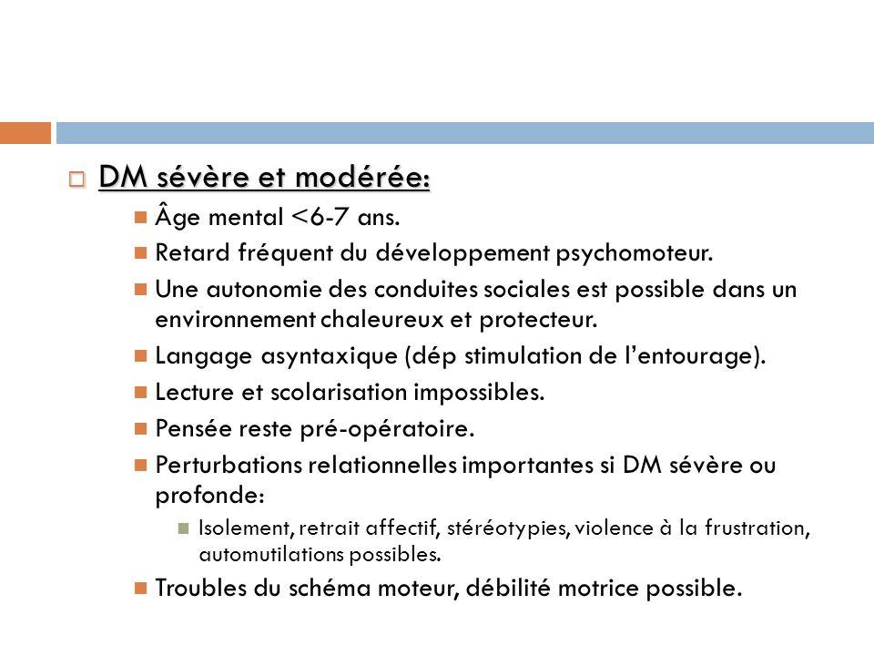 DM sévère et modérée: Âge mental <6-7 ans.