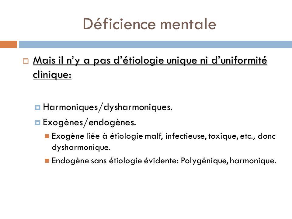 Déficience mentale Mais il n'y a pas d'étiologie unique ni d'uniformité clinique: Harmoniques/dysharmoniques.