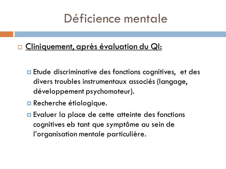 Déficience mentale Cliniquement, après évaluation du QI: