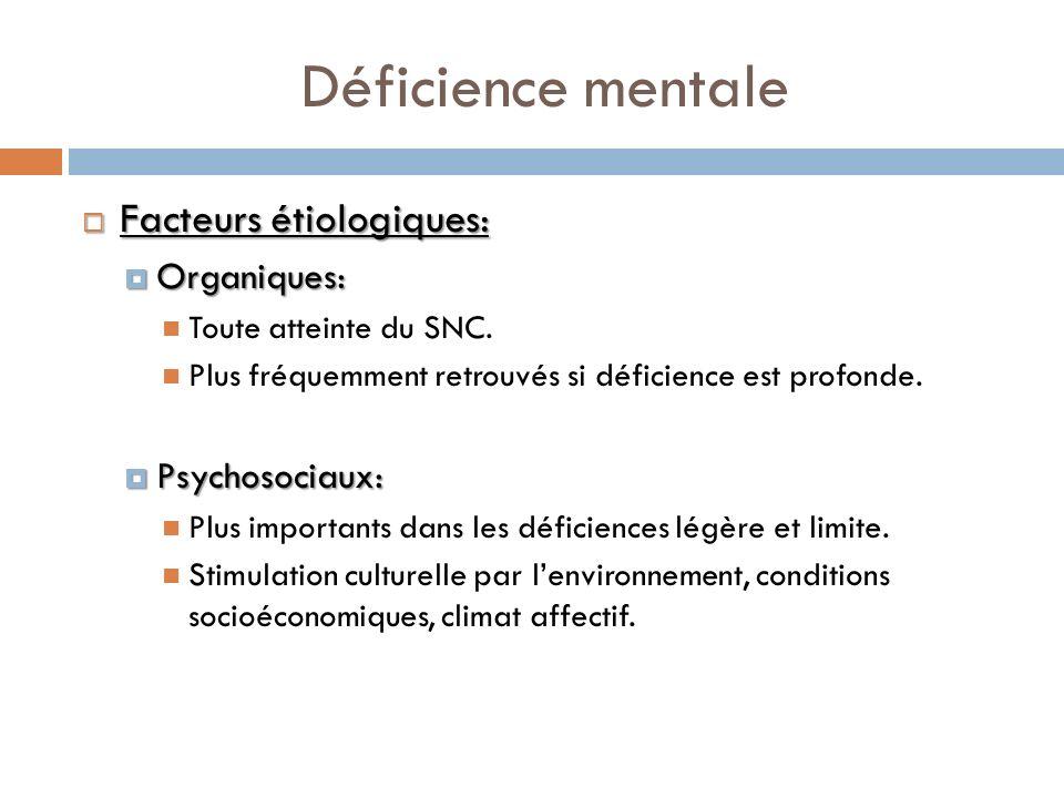 Déficience mentale Facteurs étiologiques: Organiques: Psychosociaux:
