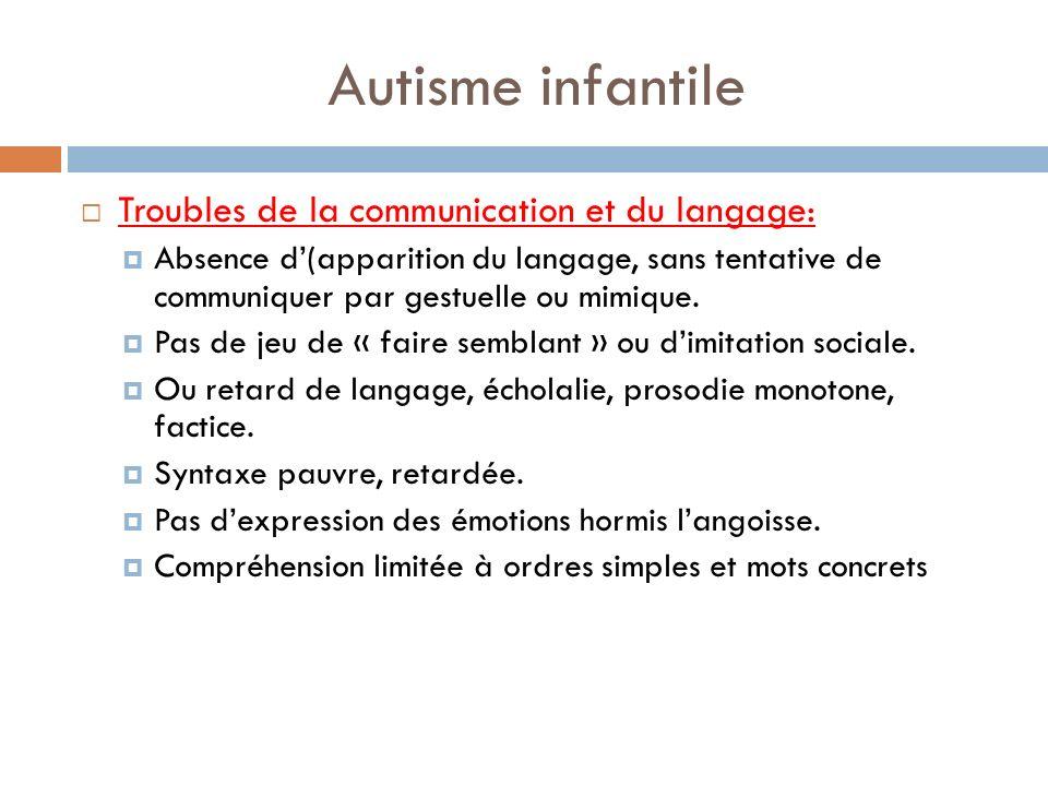 Autisme infantile Troubles de la communication et du langage: