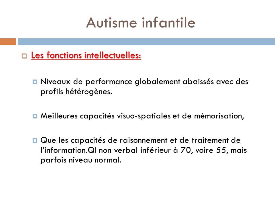 Autisme infantile Les fonctions intellectuelles: