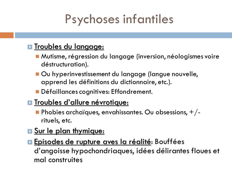 Psychoses infantiles Troubles du langage:
