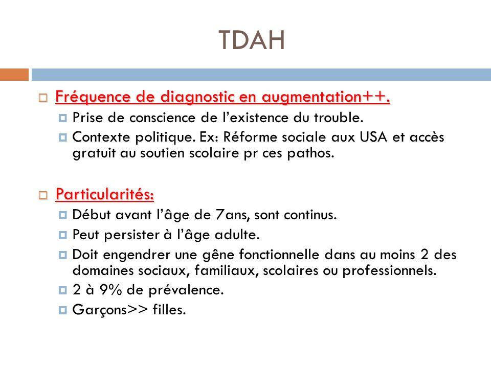 TDAH Fréquence de diagnostic en augmentation++. Particularités: