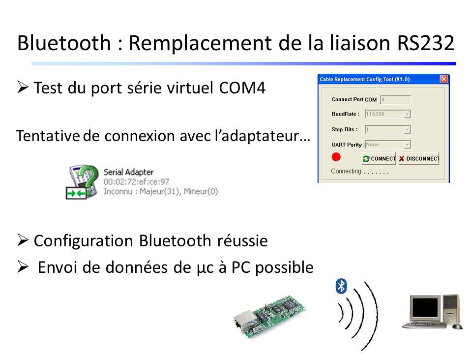 Bluetooth : Remplacement de la liaison RS232