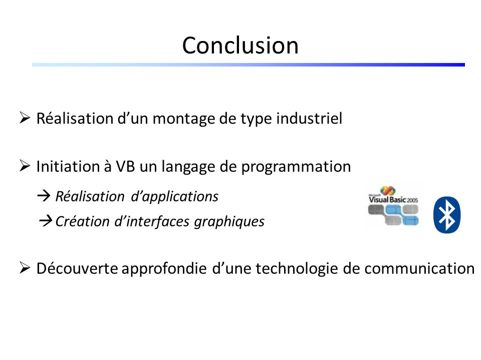 Conclusion  Réalisation d'applications
