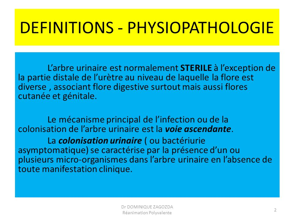 DEFINITIONS - PHYSIOPATHOLOGIE