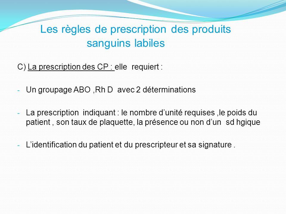 Les règles de prescription des produits sanguins labiles