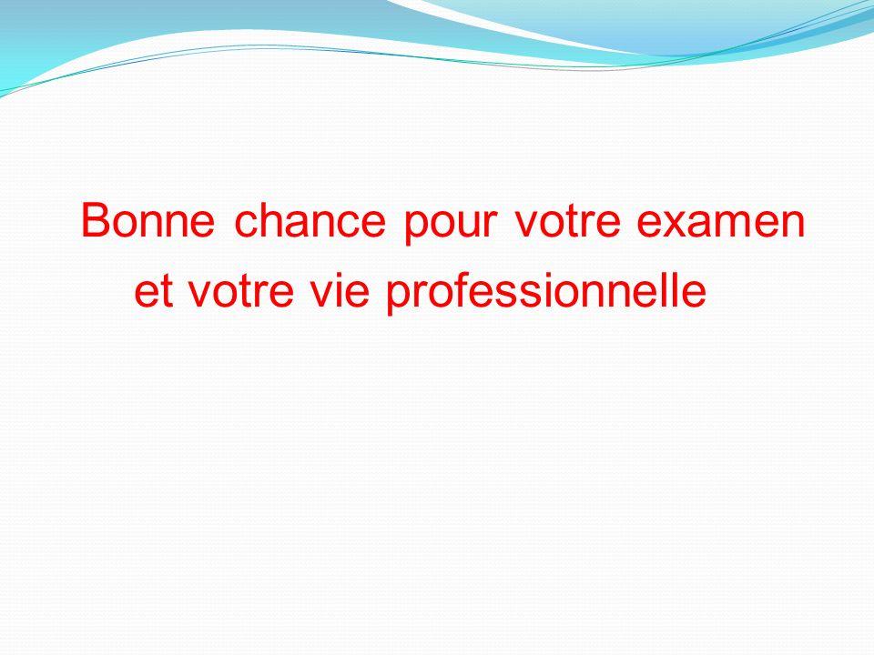 Bonne chance pour votre examen et votre vie professionnelle