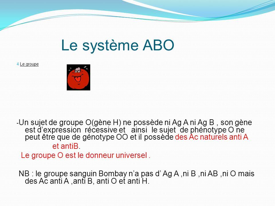 Le système ABO et antiB. Le groupe O est le donneur universel .