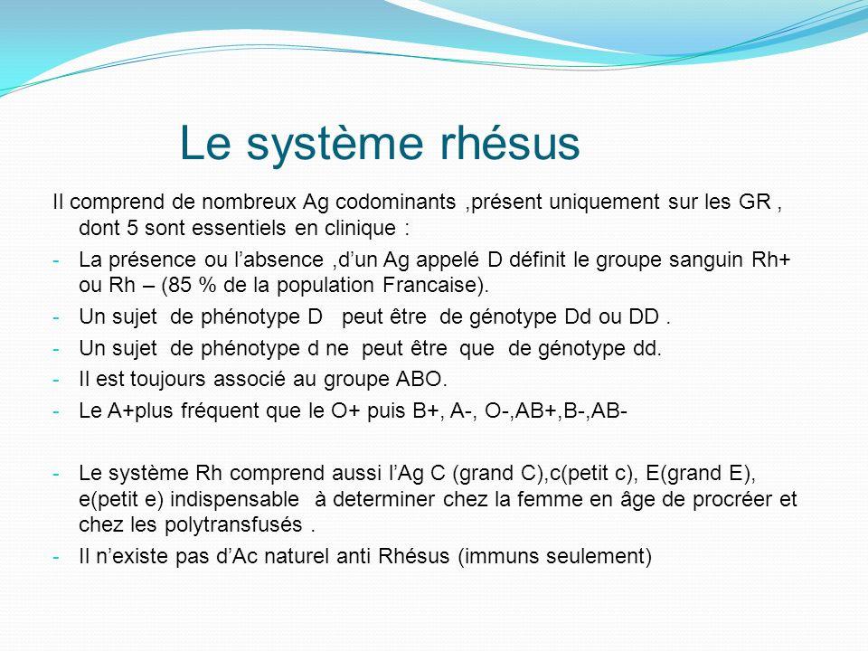 Le système rhésus Il comprend de nombreux Ag codominants ,présent uniquement sur les GR , dont 5 sont essentiels en clinique :