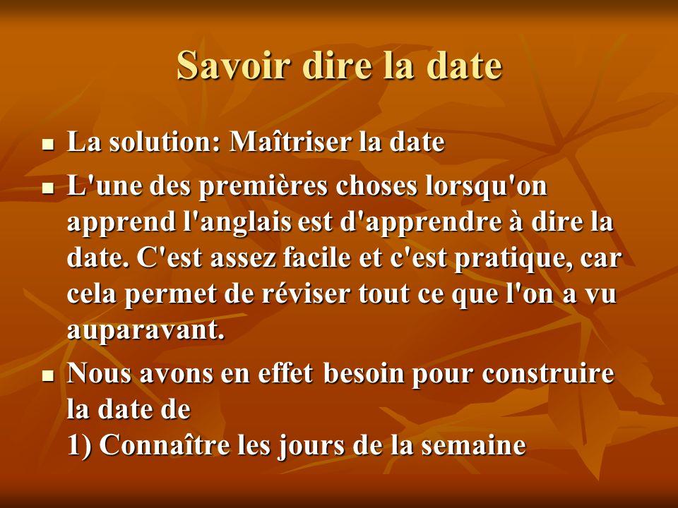 Savoir dire la date La solution: Maîtriser la date