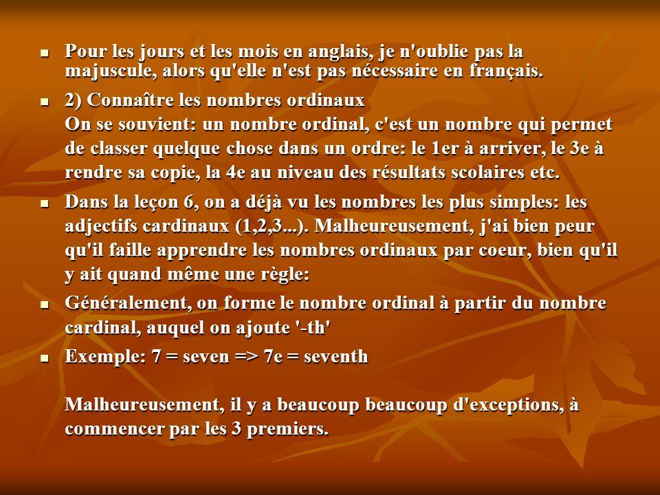 Pour les jours et les mois en anglais, je n oublie pas la majuscule, alors qu elle n est pas nécessaire en français.