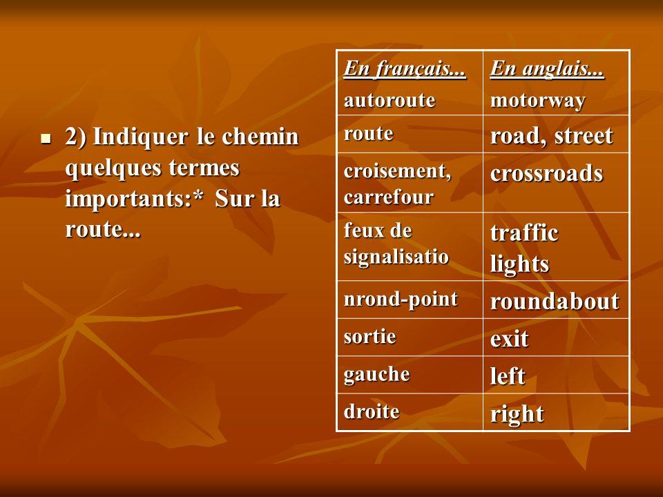 2) Indiquer le chemin quelques termes importants:* Sur la route...