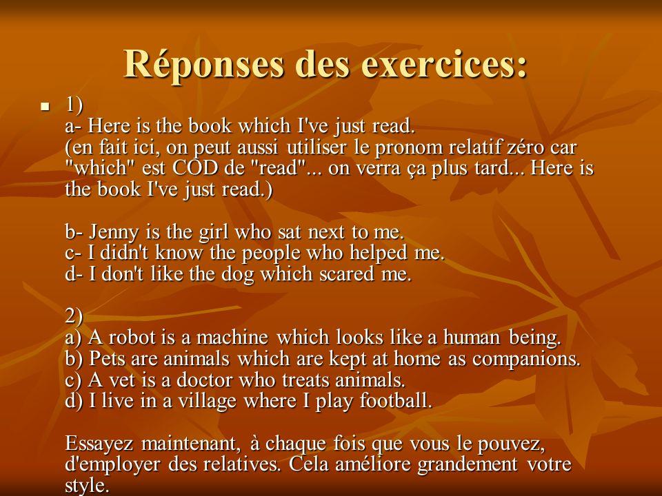 Réponses des exercices: