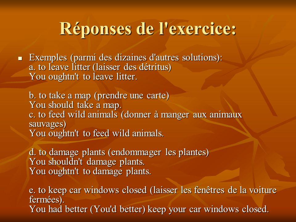 Réponses de l exercice: