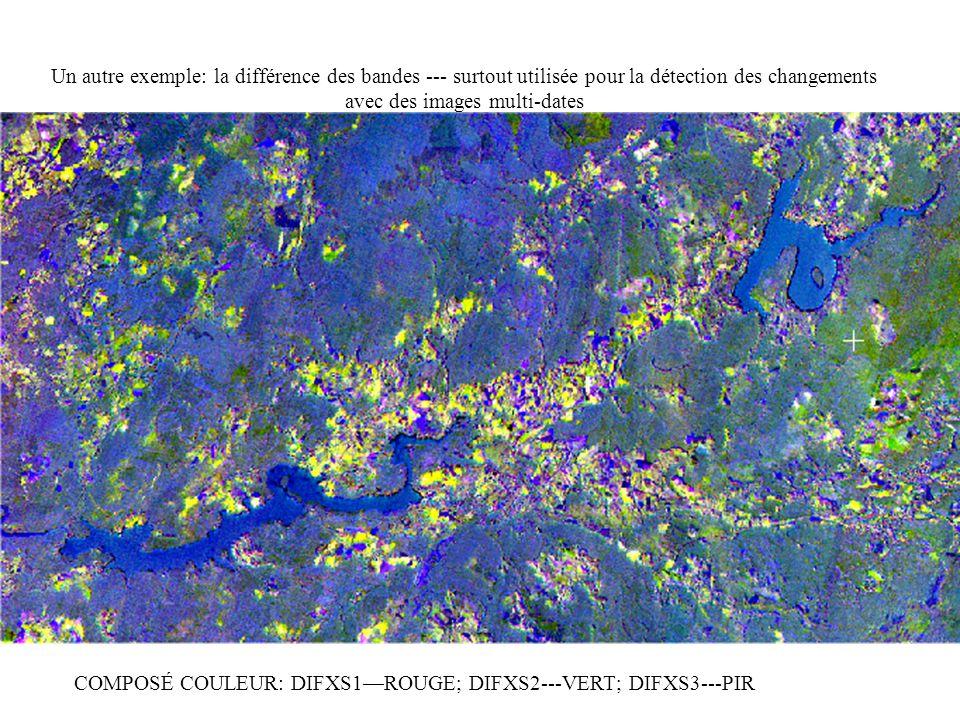 Un autre exemple: la différence des bandes --- surtout utilisée pour la détection des changements avec des images multi-dates