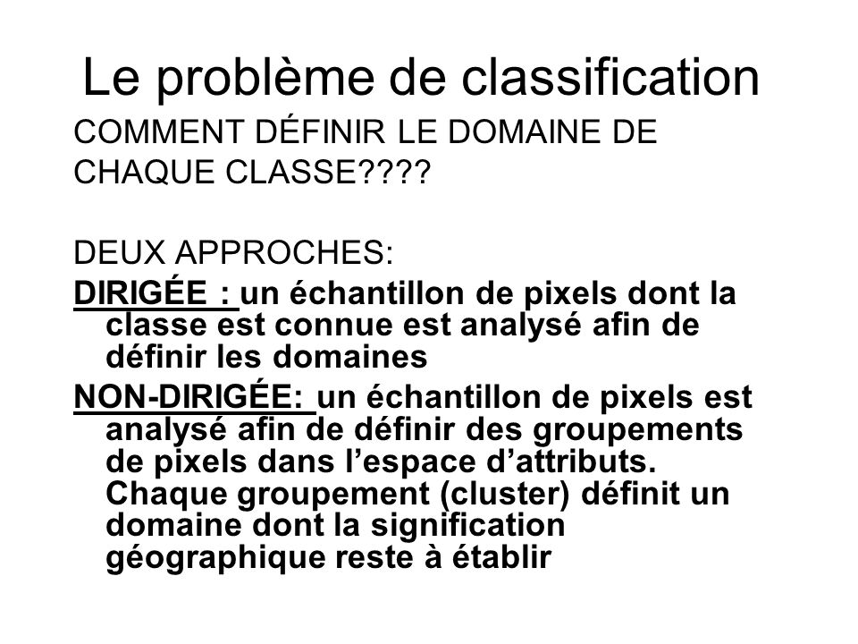 Le problème de classification