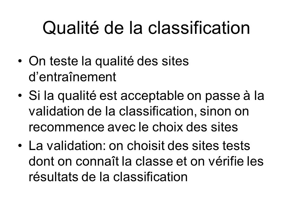 Qualité de la classification