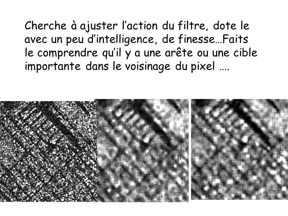 Cherche à ajuster l'action du filtre, dote le avec un peu d'intelligence, de finesse…Faits le comprendre qu'il y a une arête ou une cible importante dans le voisinage du pixel ….