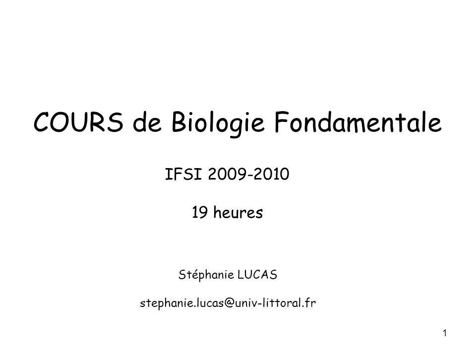 COURS de Biologie Fondamentale