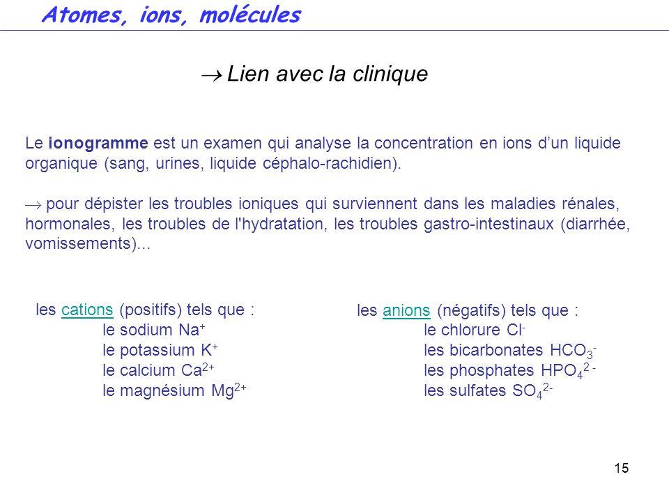 Atomes, ions, molécules  Lien avec la clinique