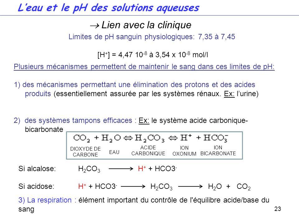 Limites de pH sanguin physiologiques: 7,35 à 7,45