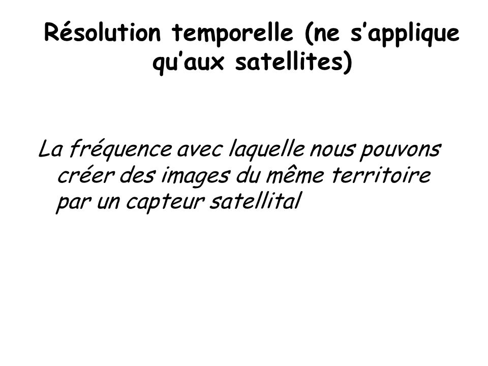 Résolution temporelle (ne s'applique qu'aux satellites)