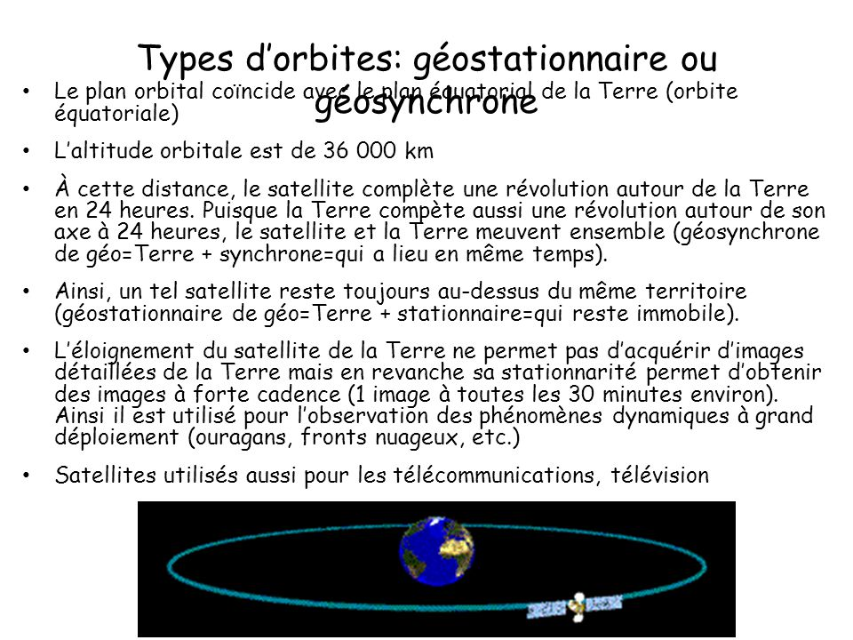 Types d'orbites: géostationnaire ou géosynchrone