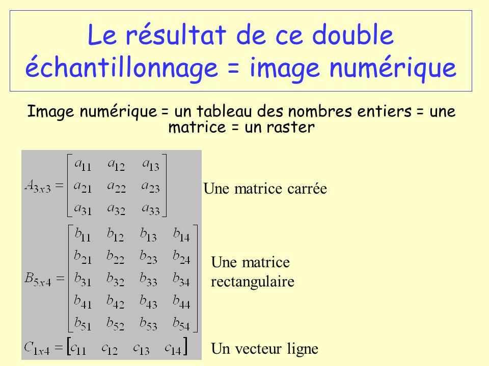 Le résultat de ce double échantillonnage = image numérique