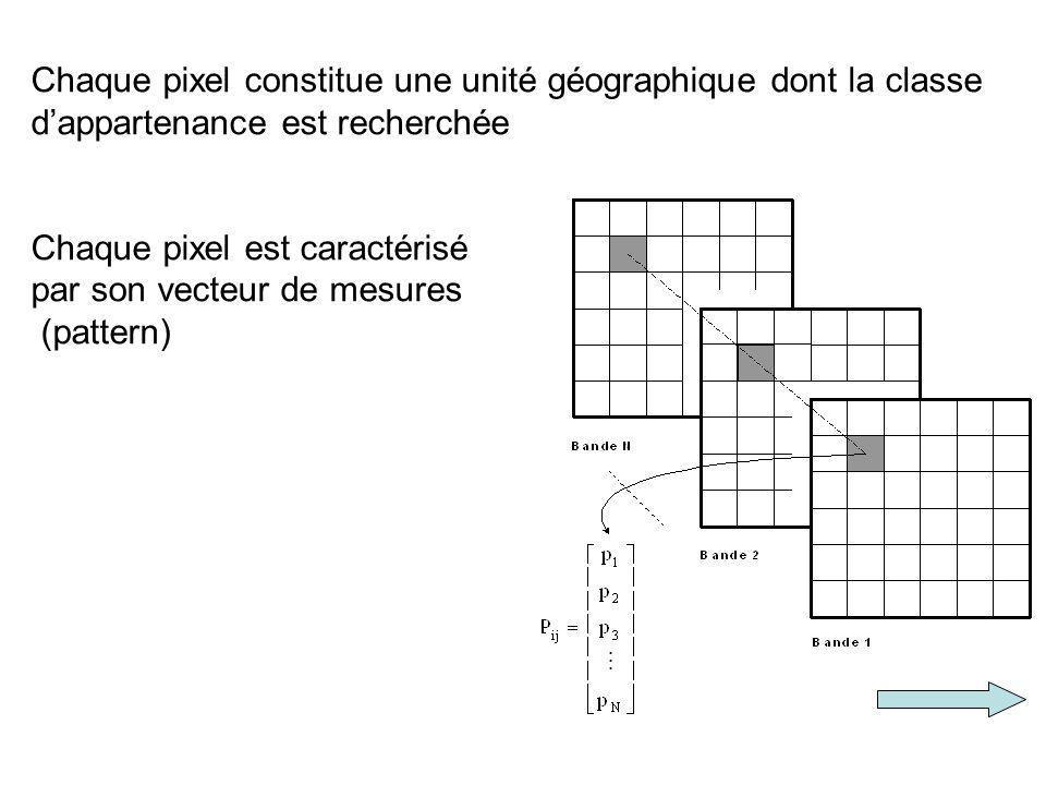 Chaque pixel constitue une unité géographique dont la classe d'appartenance est recherchée Chaque pixel est caractérisé par son vecteur de mesures (pattern)