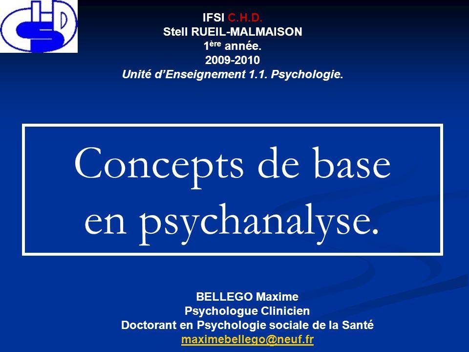 Concepts de base en psychanalyse. IFSI C.H.D. Stell RUEIL-MALMAISON