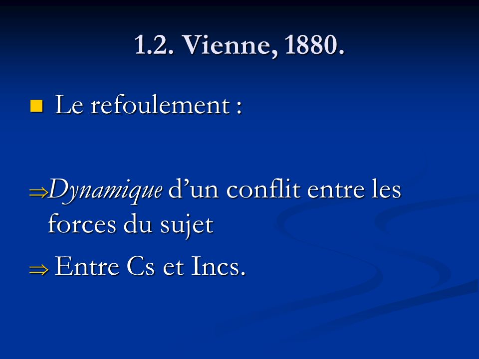 1.2. Vienne, 1880. Le refoulement : Dynamique d'un conflit entre les forces du sujet.