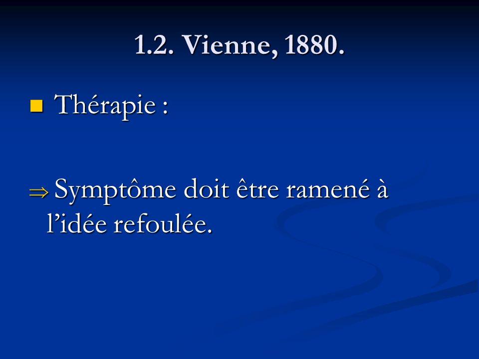 1.2. Vienne, 1880. Thérapie : Symptôme doit être ramené à l'idée refoulée.