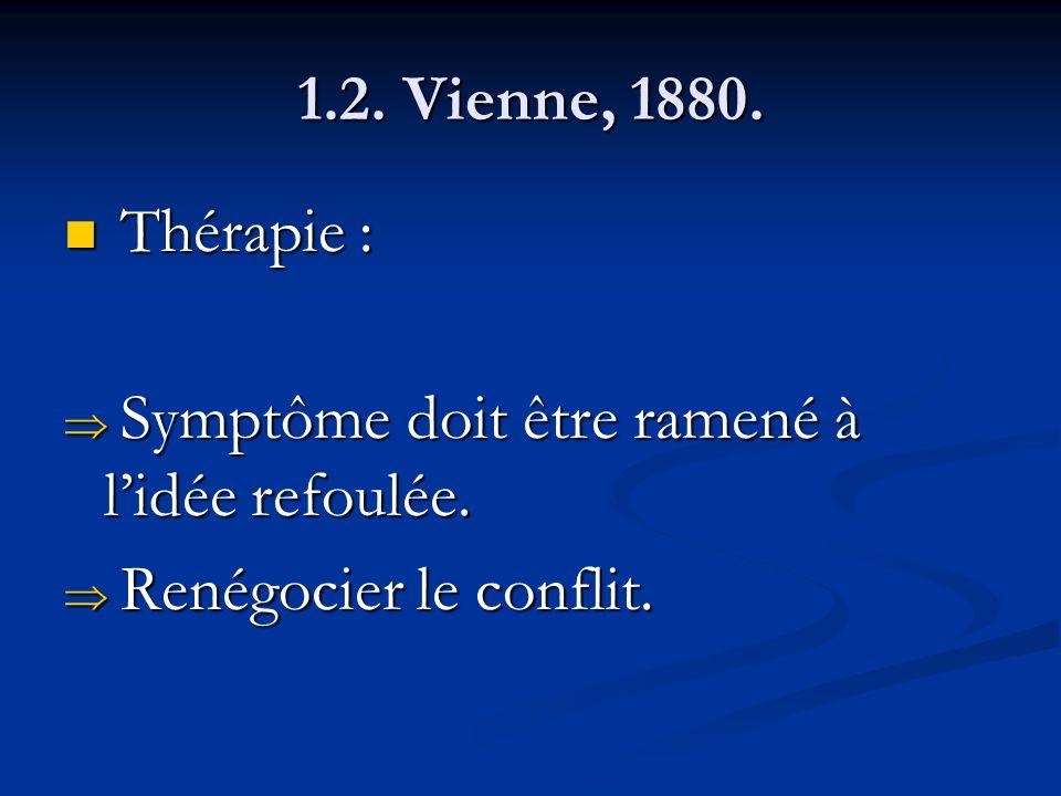 1.2. Vienne, 1880. Thérapie : Symptôme doit être ramené à l'idée refoulée. Renégocier le conflit.