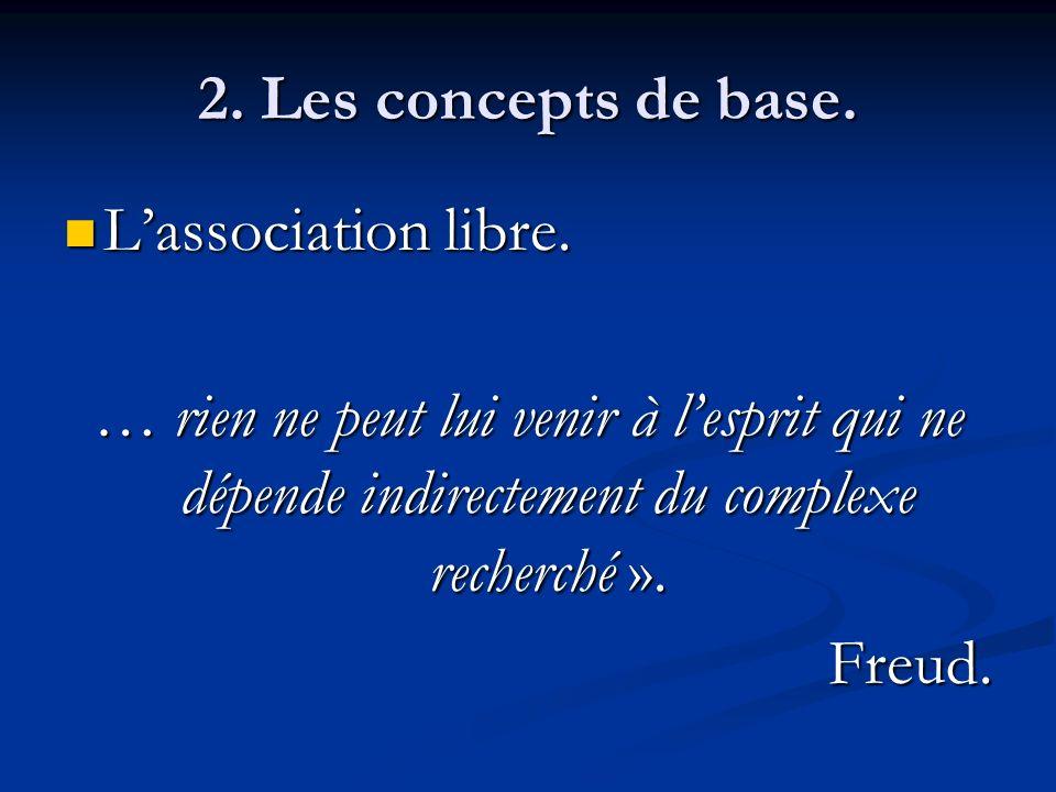 2. Les concepts de base. L'association libre. … rien ne peut lui venir à l'esprit qui ne dépende indirectement du complexe recherché ».