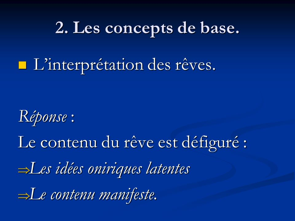 2. Les concepts de base. L'interprétation des rêves. Réponse : Le contenu du rêve est défiguré : Les idées oniriques latentes.