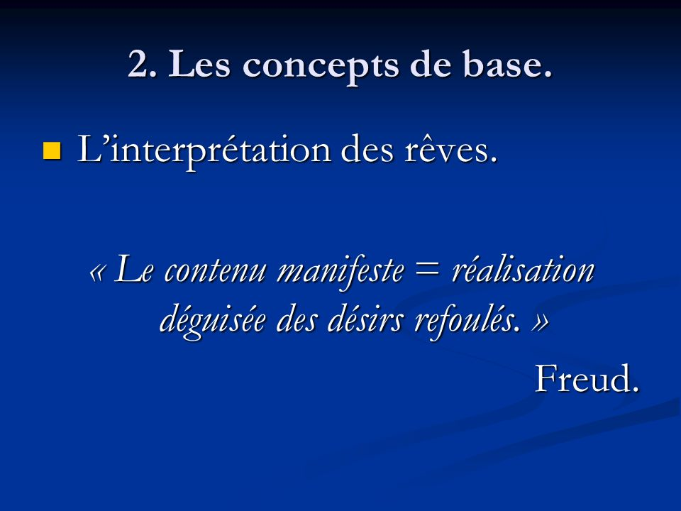 « Le contenu manifeste = réalisation déguisée des désirs refoulés. »