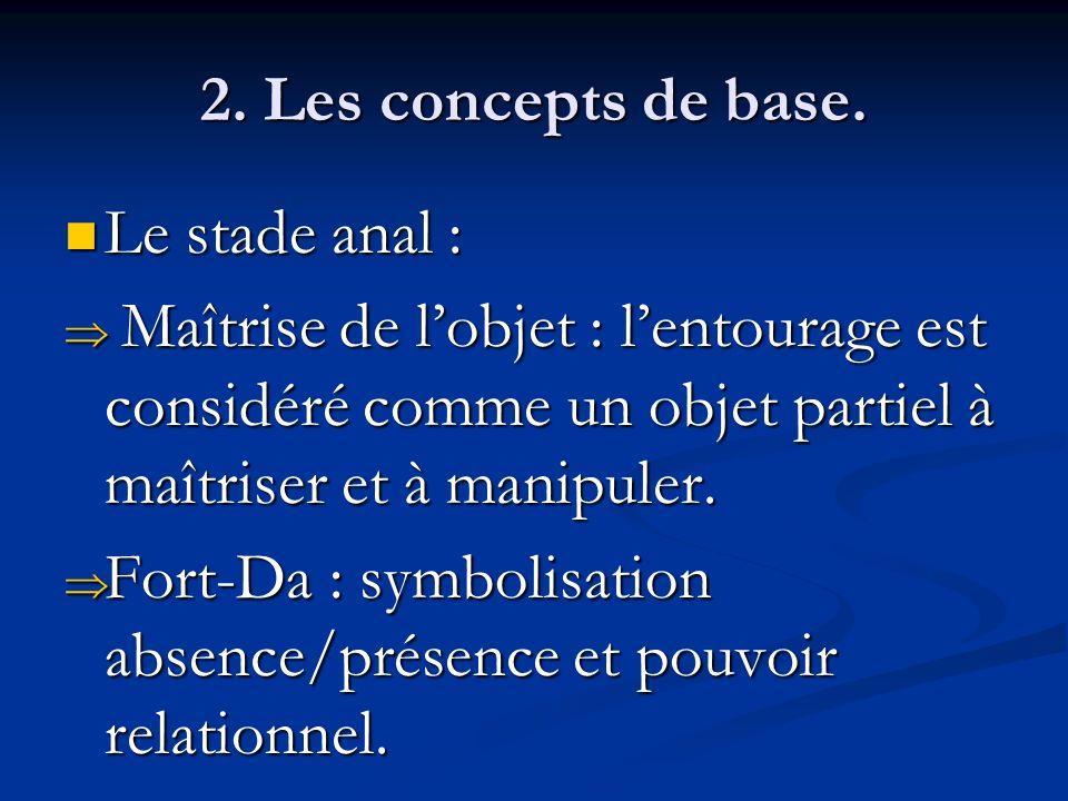 2. Les concepts de base. Le stade anal : Maîtrise de l'objet : l'entourage est considéré comme un objet partiel à maîtriser et à manipuler.