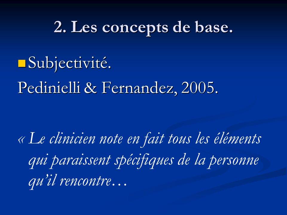 2. Les concepts de base. Subjectivité. Pedinielli & Fernandez, 2005.